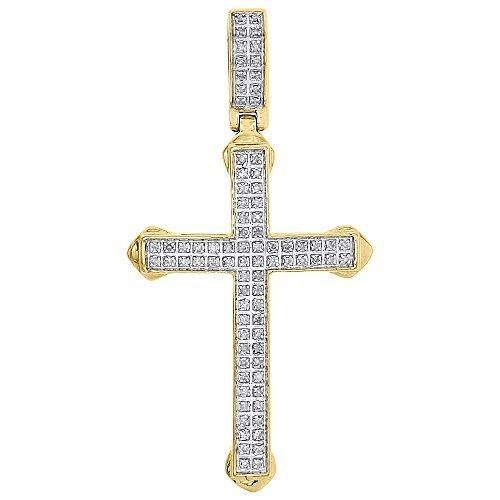 Set Round Cut Diamond Flat Men's Small Cross Pendant 1.95