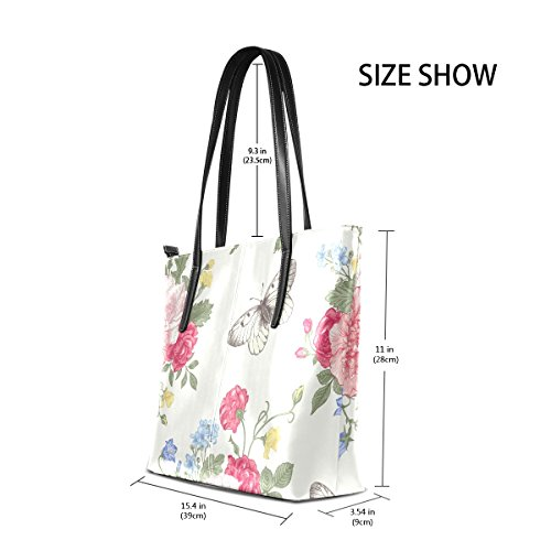 Handbag Women's Top Leather Purses PU Flowers Handle Bags TIZORAX And Butterflies Fashion Totes Shoulder Cw04Fq