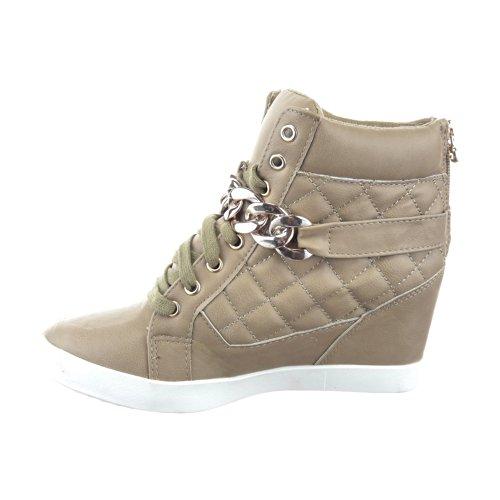 Sopily - Scarpe da Moda Sneaker Zeppa alla caviglia donna trapuntata Tacco zeppa 8 CM - soletta tessuto - Khaki