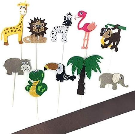 Decoración para tarta de fieltro de animales de la selva medium pack: Amazon.es: Hogar
