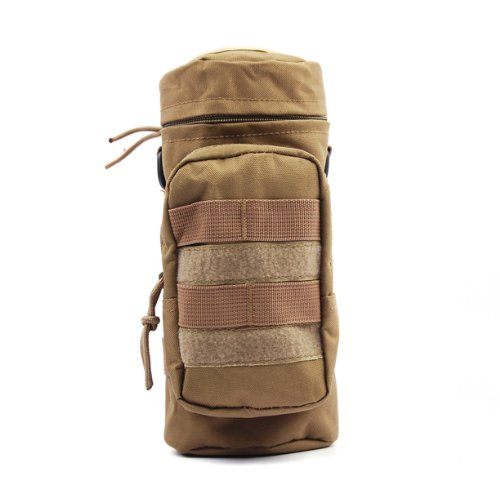 Tactical Bag,Bienna Military Water Bottle Bag [Waterproof] [w/ Small Pocket] 600D Nylon Molle Gear Zipper Pouch Holder Attachment Accessory Outdoors Travel Hiking Cycling Climbing for Men Women-Khaki