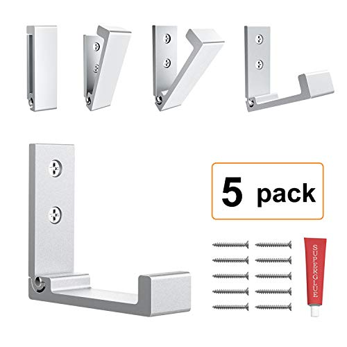 Foldable Adhesive Hooks,Heavy Duty Wall Hooks Zn Cu Alloy Ultra Strong Waterproof Hanger for Robe, Coat, Towel, Keys, Bags, Home, Kitchen, Bathroom (Set of 5) (Silver)