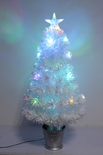 Christmas Concepts 36 Inch (3FT) (90CM) Irridescent LED Fibre Optic Christmas Tree With Colour Changing LED Lights + Silver Base