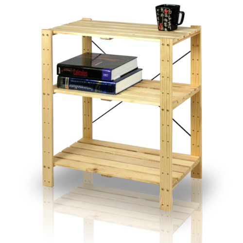 Door 4 Shelf Barrister Bookcase (Furinno FNCJ-33013 Pine Solid Wood 3-Tier Shelf)