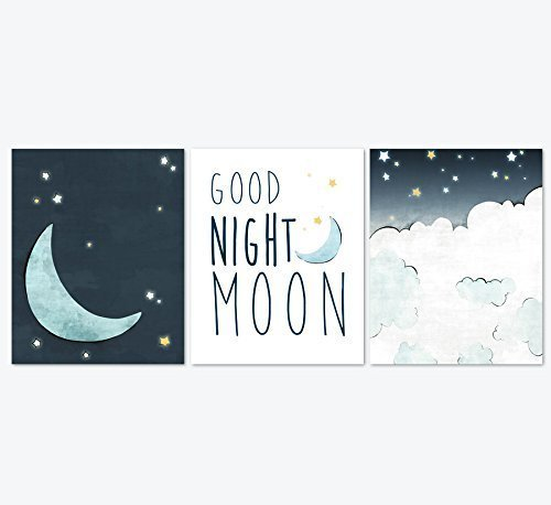 Good Night Moon Nursery Art Prints Set of 3 - Navy, Yellow, and Grey Moon and Stars Illustrations