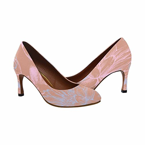 Interestprint Womens Klassiskt Mode Hög Klack Klänning Pump Blå Och Rosa Flamingos, Trollsländor