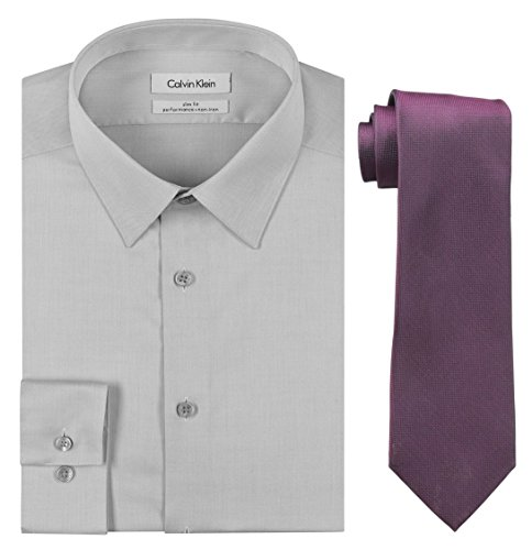 Calvin Klein Men's Slim Fit Herringbone Dress Shirt and Silver Spun Tie Combo, Smoke/Fuchsia, 15