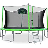 Merax 12FT Kids Trampoline with Safety Enclosure Net, Basketball Hoop and Ladder - BV Certificated – Basketball Trampoline