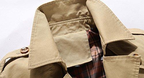 Breasted Jacket Cotton Tall Lightweight Coat Khaki amp; Chouyatou Big Men's Single 8ZXyq0E