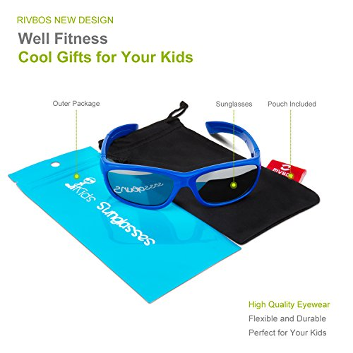 8a698183c25 RIVBOS Rubber Kids Polarized Sunglasses With Strap Glasses for Boys Girls  Baby and Children Age 3