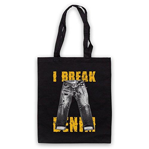 I Break Denim Jeans Slogan Bolso Negro