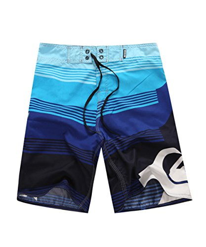 Hiheart Mens Summer Swim Trunk Quick Dry Board Shorts Surfing Swimsuit Blue L