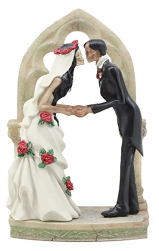 Ebros Gift Day of The Dead DOD Skeleton Bride & Groom Wedding Kiss Figurine 7