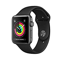 Apple Watch Series 3 42mm Smartwatch (GPS Only, Space Gray Aluminum Case, Black Sport Band) (Renewed)