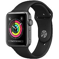Apple Watch Series 3(GPS), 42mm. espacio funda de aluminio gris con negro deporte banda–mql12ll/A (reacondicionado certificado)