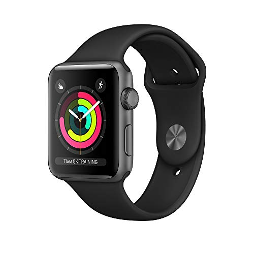 Apple Watch Series 3 (GPS), 42mm Space Gray Aluminum Case with Black...