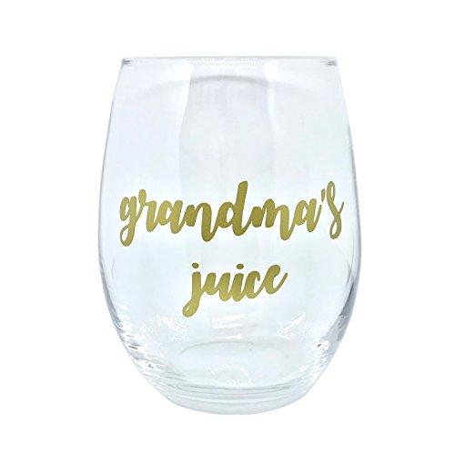 GRANDMA'S JUICE Cute Stemless Wine Glass Gift ()