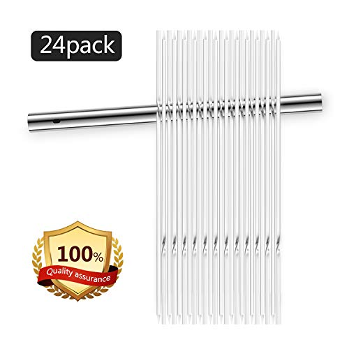 BBQ skewers(Set of 24), 14'' shish Kabob skewers, 304 Stainless Steel Flat Kebab Skewers for Grilling, Reusable Metal BBQ Sticks with Storage Tube