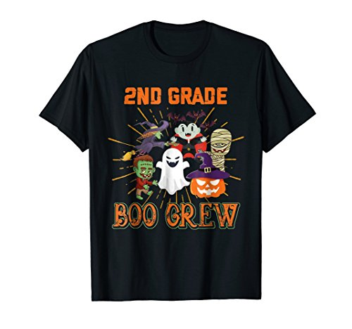 2ND GRADE Boo Crew T Shirt Funny Halloween Costume for Kids -