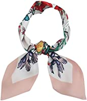 Redacel Skinny Scarf for Bags Womens Flowers Ribbon Hair Band Head Neck Multiuse Solid Colors Available