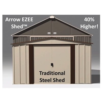 - Arrow 10' x 8' EZEE Shed Charcoal with Cream Trim Extra High Gable Steel Storage Shed