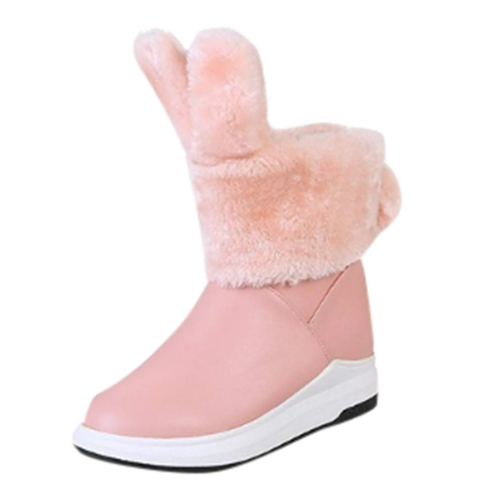 Red Ta Winter Womens Flat Rabbit Ears Shoes Keep Warm Round-Toe Waterproof Middle Tube Snow Boots