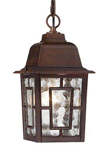 Nuvo Lighting 60/4932 Banyon One Light Hanging Lantern 100 Watt A19 Max. Clear Water Glass Rustic Bronze Outdoor Fixture - Hanging Chandelier Light Fixture