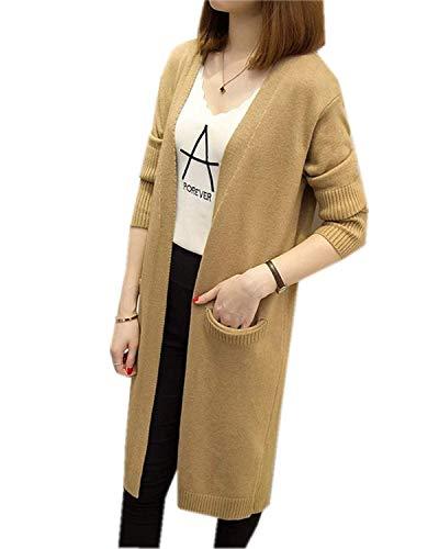Anteriori Tasche Pullover Comodo Abbigliamento Donna Monocromo Lunghe Invernali Maglia Di Khaki A Elasticità Manica Moda E Sezioni Lunga Casual Maglieria Cappotto Outwear Autunno Giacca f0Bqwq8x