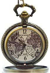 Bronze Pocket Watch Old World Map Men Large Antique Style FOB Chain
