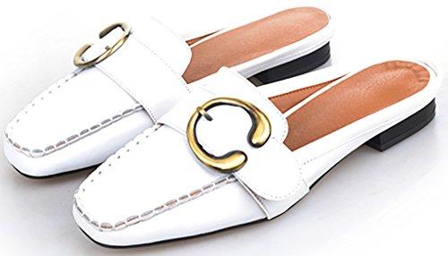 Closed Calaier White Block Cawin Mules Toe Women 2CM on Shoes Heel Slip Sandals qqrwT