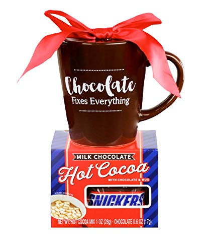 Thoughtfully Gifts, Chocolate Fixes Everything Mug Set, Includes Mug, Hot Cocoa Mix and Snickers Fun Size Bar (Hot Set Cocoa)