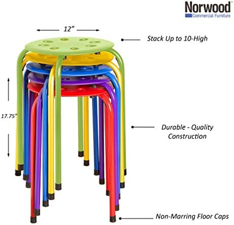 """Norwood Commercial Furniture - NOR-1101AC-SO - Assorted Color Stacking Stool - Stackable Nesting Stools/Chairs For Kids And Adults - Flexible Seating For Home, Office, Classrooms - Plastic/Metal 17.75"""" (Pack Of 5)"""