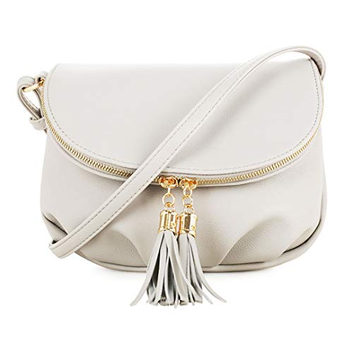 EMPERIA Women's Front Flap Small Messenger Crossbody Bag Zipper Clossure with Tassel Stone ()