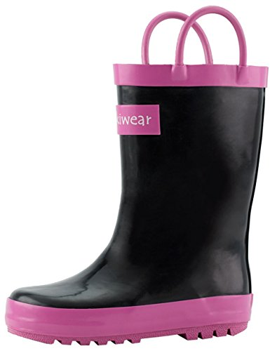 Kids amp; Pink On Waterproof Oakiwear Rain Easy Black Handles Boots Rubber with 1xpdwq
