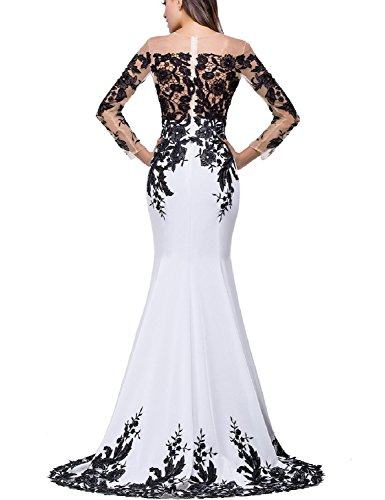 3a63265b51c Home Brands OYISHA Dresses OYISHA Womens Appliqued Evening Dress Long  Mermaid Wedding Celebrity Gown EV122 White   Red 10.   