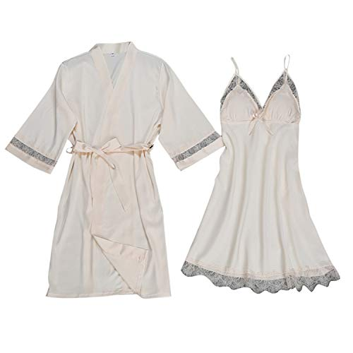 Women's Pure Color Kimono Robes Short Satin Nightwear Bridesmaids Lingerie S-XXL Beige