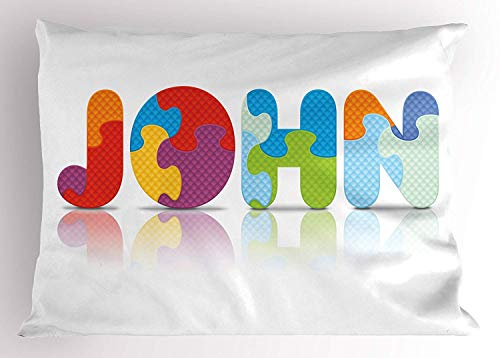 Emiqlandg John Pillow Sham, Ancestral Children Name with Medieval Origins Nursery Themed Puzzle Preschool Design, Decorative Standard Queen Size Printed Pillowcase, 30 X 20 inches, Multicolor ()