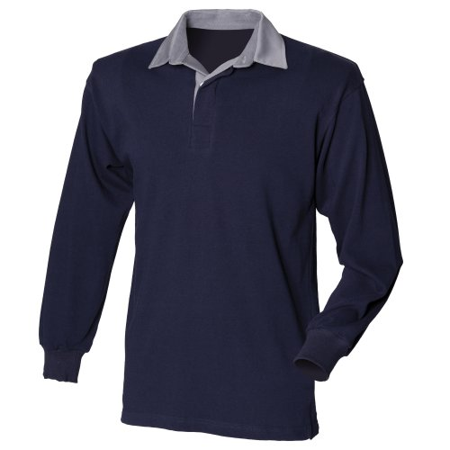 Front Row Mens Long Sleeve Sports Rugby Shirt - Large / Chest 40 - 42in - Navy/Slate Collar