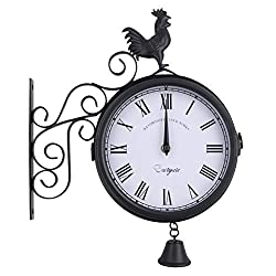 OUNONA Outdoor Wrought Iron Wall Clock Garden Creative Fashion Double-Sided Cock Bell Shape Wall Hanging Clock Without Battery (Black)