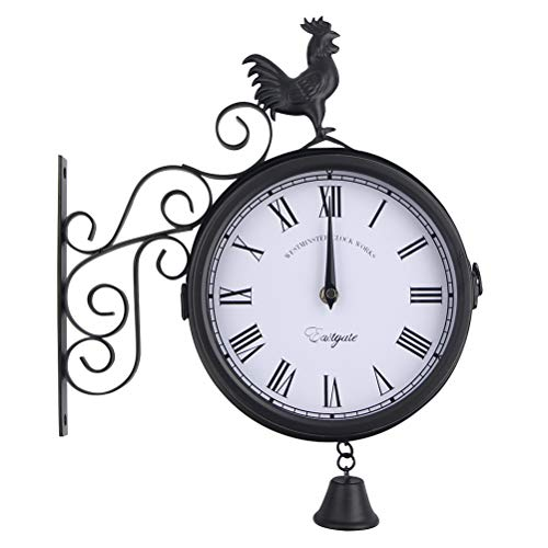 OUNONA Outdoor Wrought Iron Wall Clock Garden Creative Fashion Double-Sided Cock Bell Shape Wall Hanging Clock Without Battery - Wall Wrought Outdoor Iron