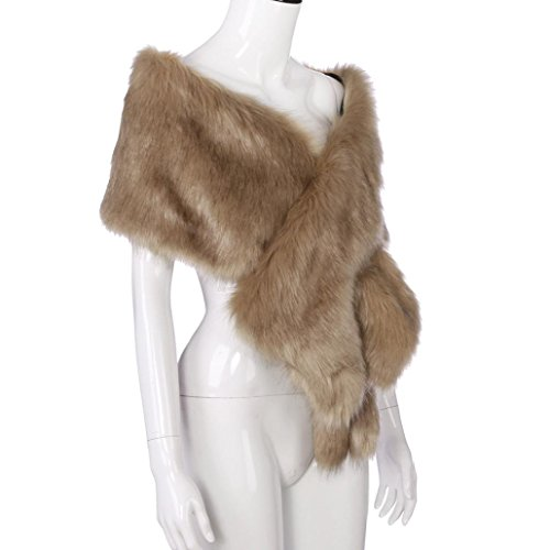 Qisc Faux Fur Wrap Shawl Shrug Bridal Faux Fur Jacket Coat Shawls Stole Lady Gift by (Free Size, Khaki) by Qisc (Image #3)