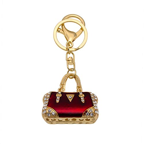 1 Pack Red Enamel Gold Crystal Rhinestone Purse Metal Keyring Pendant Teen Keys Hook Hooks Key Tag Grandiose Popular Pocket Women Bag Car Keychains