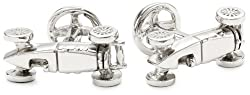 ROTENIER Novelty Sterling Silver 1950's Race Car and Wheel Cufflinks