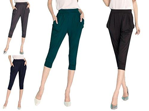 Lâche Vert Pantalon Vogue Harlan Bigood Foncé Femme Capris Casual En Polyester wZxn6BqS