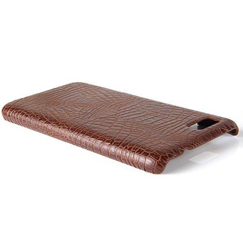 YHUISEN Patrón de piel de cocodrilo clásico de lujo [ultra delgado] cuero de la PU Anti-rascar la cubierta de la caja dura de protección de la PC para Asus Zenfone 3s Max ZC521TL (5,2 pulgadas) ( Colo Brown