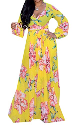 Swing Domple Dress Floral Party Stylish V Women's Neck Long Yellow Chiffon Belted Print qS4tS