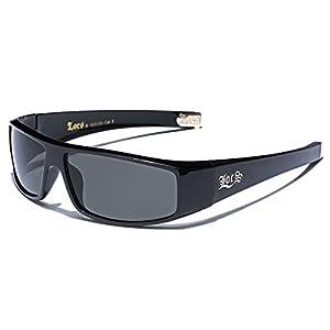 LOCS Original Gangster Shades Mens Flat Top Rectangular Sunglasses - Black