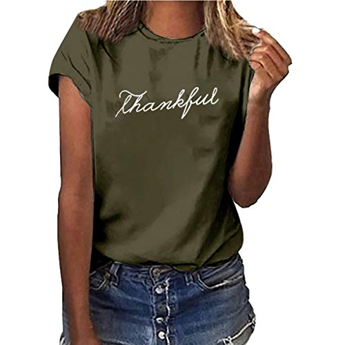 Womens SADUORHAPPY Thankful Printed T-Shirt Casual Thanksgiving Christian Short Sleeve Tee Tops