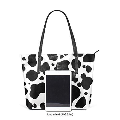 Della Bag A Medio Coosun Bianco Donne Tracolla Per Mucca Del Nero Borse Le Borsa Muticolour E Modello Cuoio Tote wXOzx