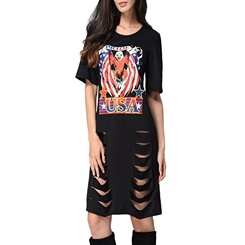 private-space-Aurelie Dress for Women 2018 Women Pierced Sexy Hole Short-Sleeved Casual T-Shirt -